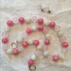 Tiffany bead necklace & earrings